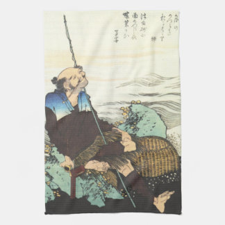 Old Fisherman Smoking his Pipe by Hokusai Towels