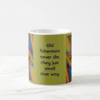 old fishermen never die classic white coffee mug