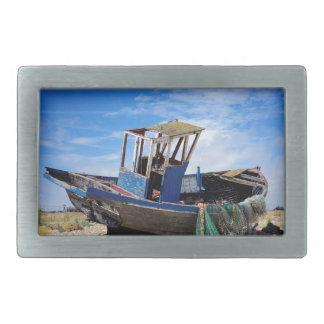 Old fishing boat. belt buckle