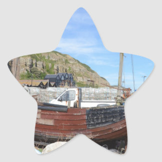 Old Fishing Boat On The Beach Star Sticker
