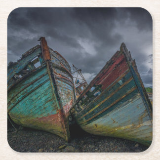 Old Fishing Boats Square Paper Coaster