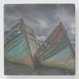 Old Fishing Boats Stone Coaster