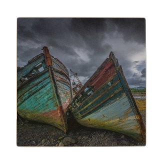 Old Fishing Boats Wood Coaster
