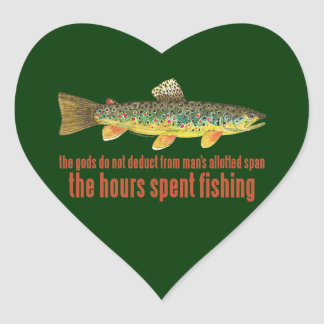 Old Fishing Saying Heart Sticker