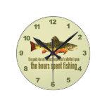Old Fishing Saying Round Clock