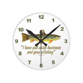 Old Fishing Words Round Wallclocks