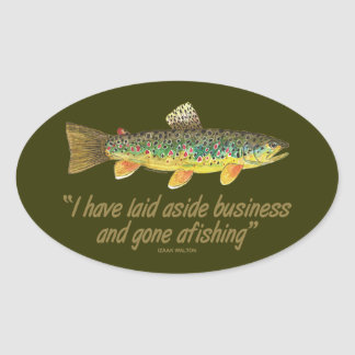 Old Fishing Words Oval Sticker