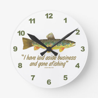 Old Fishing Words Round Clock