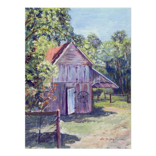 Old Florida Barn Rustic Acrylic Painting Poster