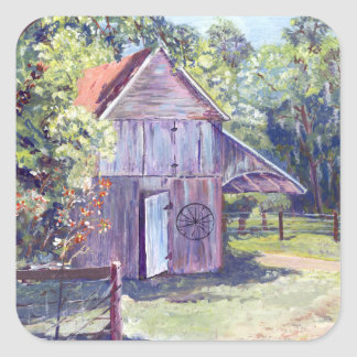 Old Florida Barn Rustic Acrylic Painting Square Sticker