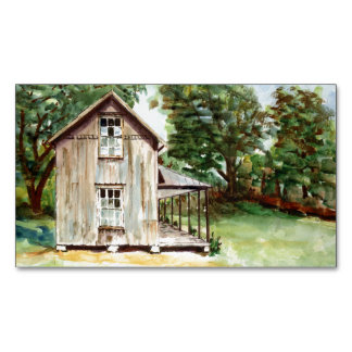 Old Florida Homestead Rustic Watercolor Painting Business Card Magnet