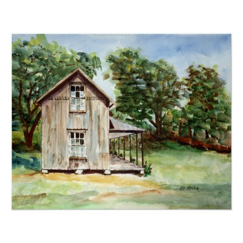 Old Florida Homestead Rustic Watercolor Painting Poster