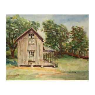 Old Florida Homestead Rustic Watercolor Painting Wood Wall Art