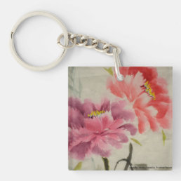 OLD FLOWER PRINT KEYCHAIN