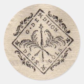 Old French Document Stamp Round Sticker