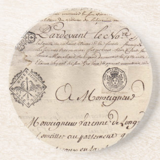 Old French Documents Collage Coaster II