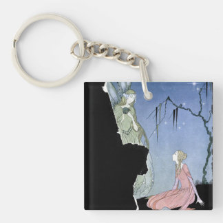 Old French Fairytales Artwork Single-Sided Square Acrylic Keychain