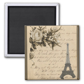 Old French flowers and Eiffel Tower 2 Inch Square Magnet