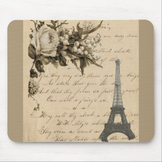 Old French flowers and Eiffel Tower Mouse Pad