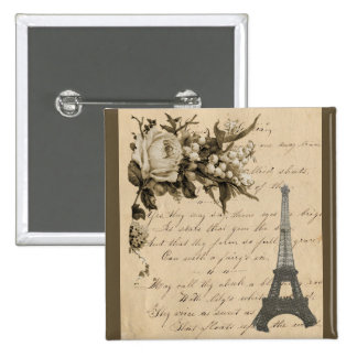 Old French flowers and Eiffel Tower Pinback Button