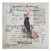 Old French Love Letters and Blue Swallow Victorian Poster