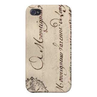 Old French Parchment Dijon Deux Sols Seal Case For iPhone 4