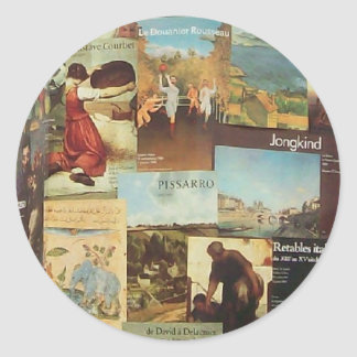 Old French Paris Poster Advertisement Collage III Classic Round Sticker