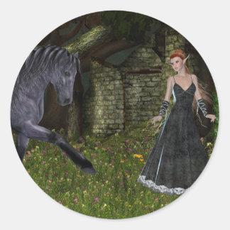 'Old Friends' ~ An Elf & Black Horse Series Classic Round Sticker