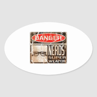 Old funny signboard for Nerds' Super Weapon Oval Sticker
