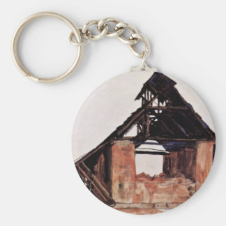 Old Gable By Schiele Egon Keychains