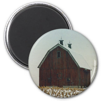 Old Gambrel Roof Barn on a Snowy Day 2 Inch Round Magnet
