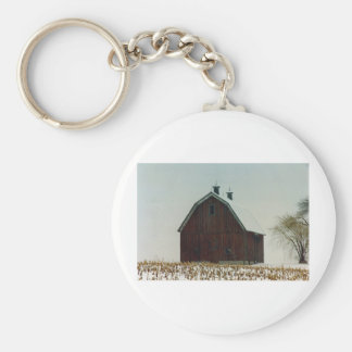 Old Gambrel Roof Barn on a Snowy Day Basic Round Button Keychain