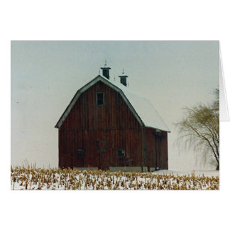 Old Gambrel Roof Barn on a Snowy Day Card