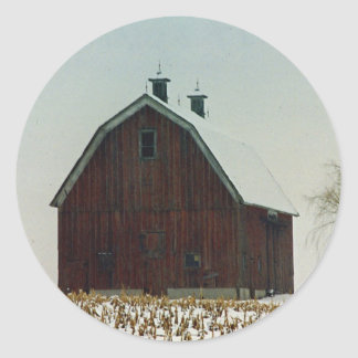 Old Gambrel Roof Barn on a Snowy Day Classic Round Sticker