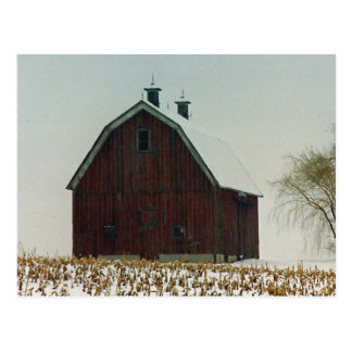 Old Gambrel Roof Barn on a Snowy Day Postcard