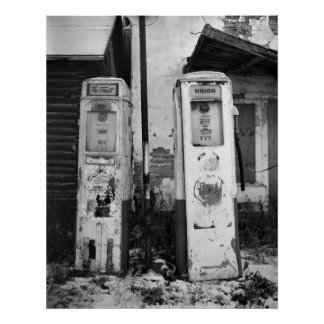 Old Gas Pumps Print
