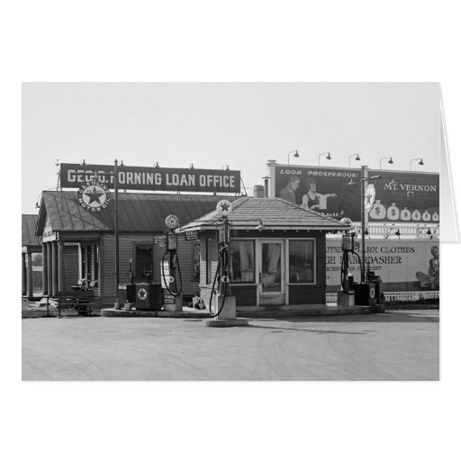 Old Gas Station, 1920s Greeting Card