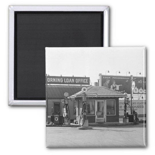 Old Gas Station, 1920s Magnet