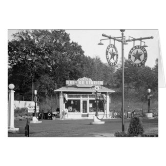 Old gas station, 1925 card