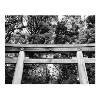 Old gate at Meiji Shrine in Yoyogi Park in Tokyo Postcard