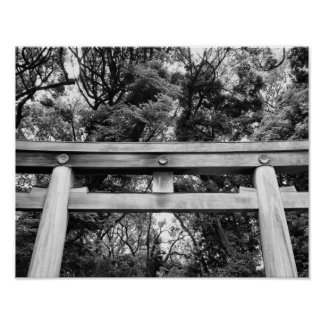 Old gate at Meiji Shrine in Yoyogi Park in Tokyo Poster
