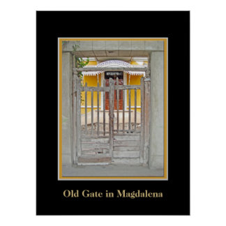Old Gate in Magdalena del Mar w Faux Mat Poster