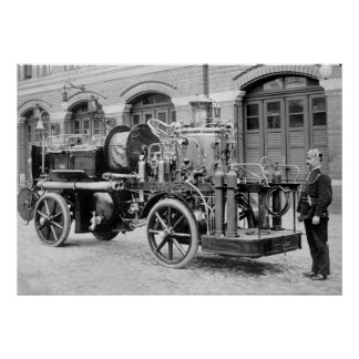 Old German Fire Engine, early 1900s Poster