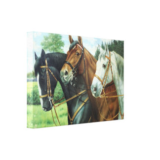 Old German Horse oil Painting portrait from 1924 Canvas Print