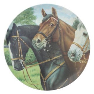 Old German Horse oil Painting portrait from 1924 Melamine Plate