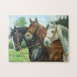 Old German Horse oil Painting portrait from 1924 Jigsaw Puzzles