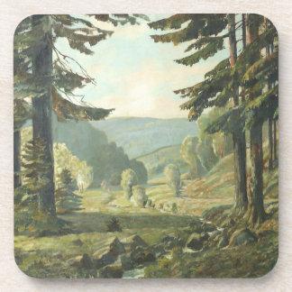 Old German oil Painting - Forest Erzgebirge 1905 Beverage Coaster