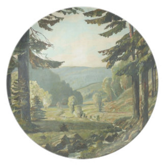 Old German oil Painting - Forest Erzgebirge 1905 Melamine Plate