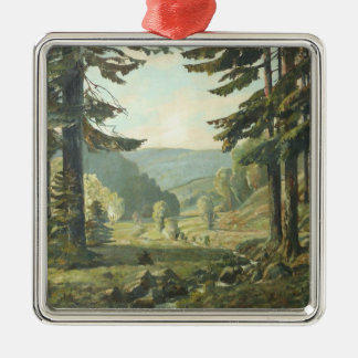 Old German oil Painting - Forest Erzgebirge 1905 Metal Ornament