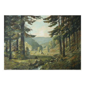 Old German oil Painting - Forest Erzgebirge 1905 Poster